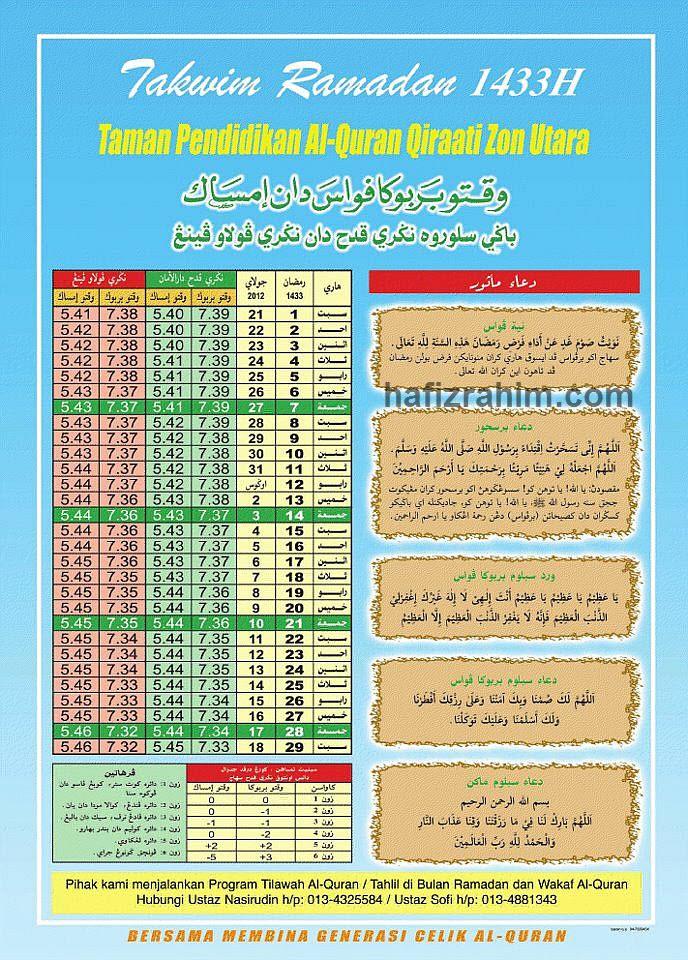 Jadual Waktu Berbuka Puasa 2012/1433H Labuan, Kedah dan Pulau Pinang