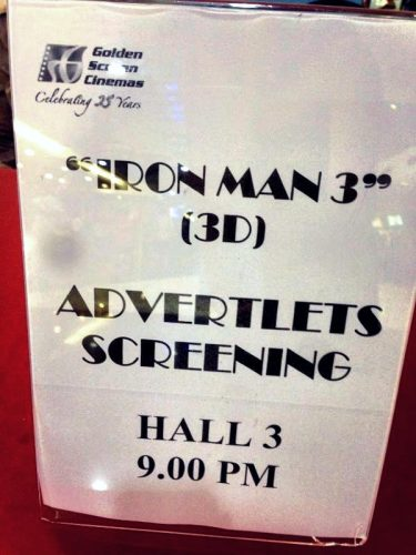 Advertlets Screening Iron Man 3
