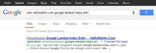 result google lambat index