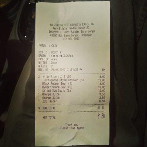 Bil Makan Restoran Cina Muslim