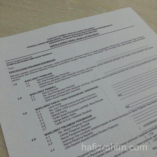 Contoh Format Penyata Baki Pinjaman Bagi Pengeluaran Mengurang atau Menyelesaikan Baki Pinjaman Perumahan