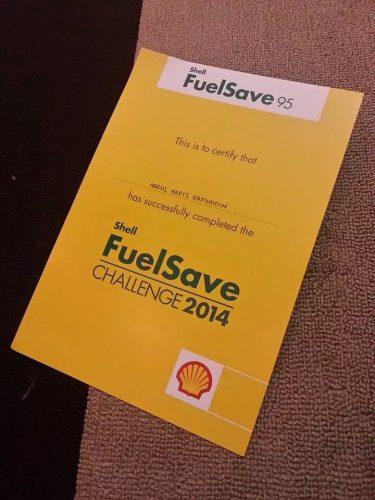 Shell FuelSave Challenge cert
