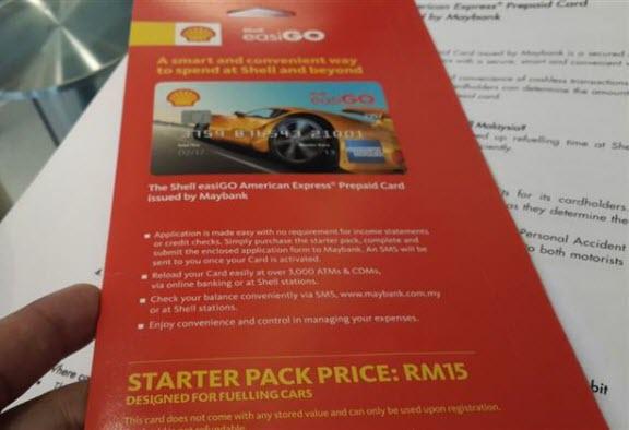 Starter kit Shell EasiGo untuk pemandu kereta. Kalau untuk penunggang motorsikal, ada gambar motorsikal.
