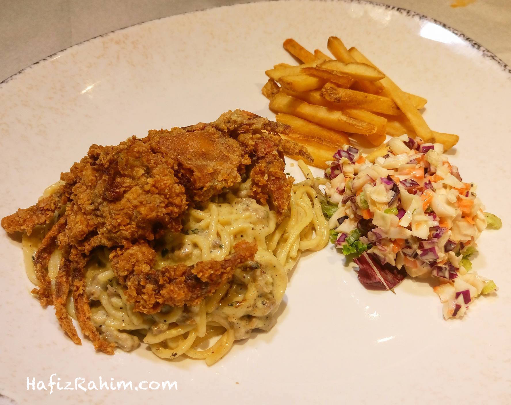 Fried Soft Shell Crab with Carbonara Spaghetti
