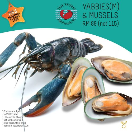 Yabbies & Mussles Promo Crab Factory