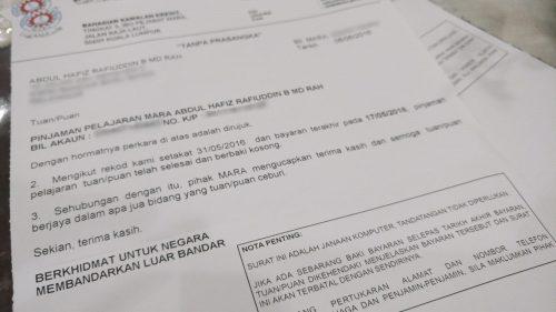 Surat Pengesahan Selesai Baki Pinjaman MARA